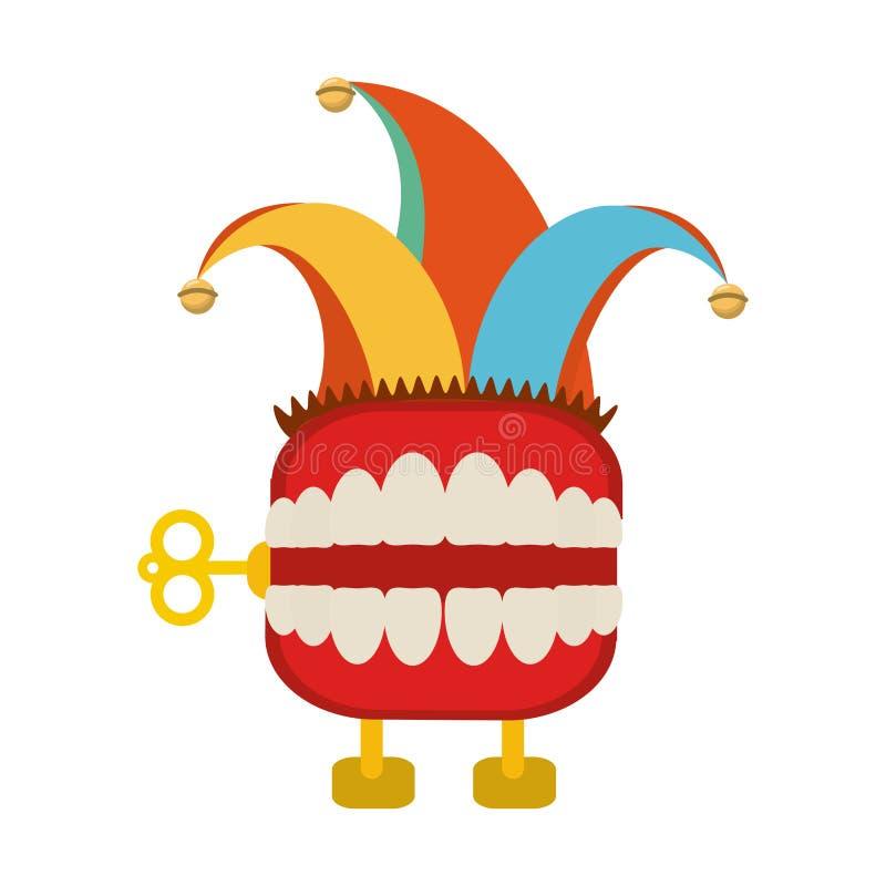 De grap van de tandendoos met het beeldverhaal van de narrenhoed royalty-vrije illustratie