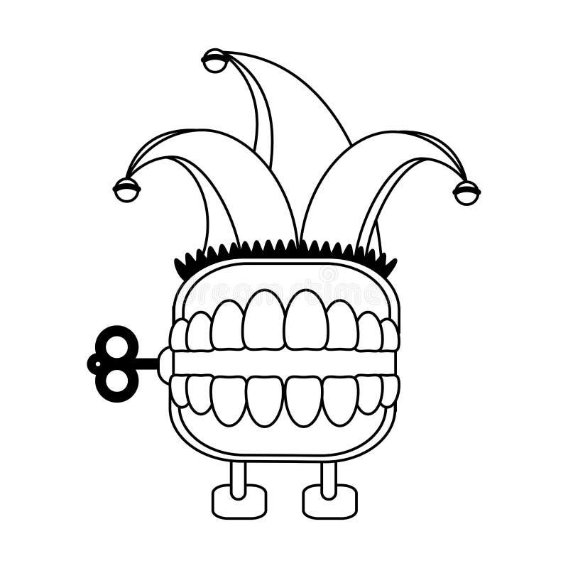 De grap van de tandendoos met het beeldverhaal van de narrenhoed in zwart-wit royalty-vrije illustratie