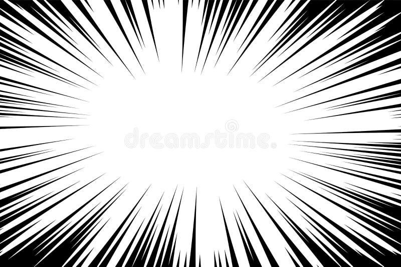 De grappige achtergrond van boek radiale lijnen Manga Speed Frame Explosie vectorillustratie Van de steruitbarsting of zon strale royalty-vrije illustratie