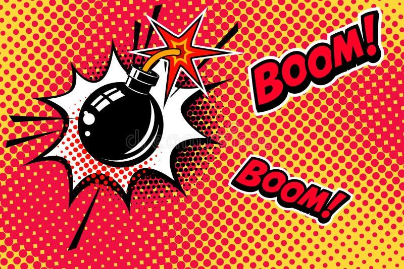 De grappige achtergrond van de boekstijl met bomexplosie Ontwerpelement voor banner, affiche, vlieger vector illustratie