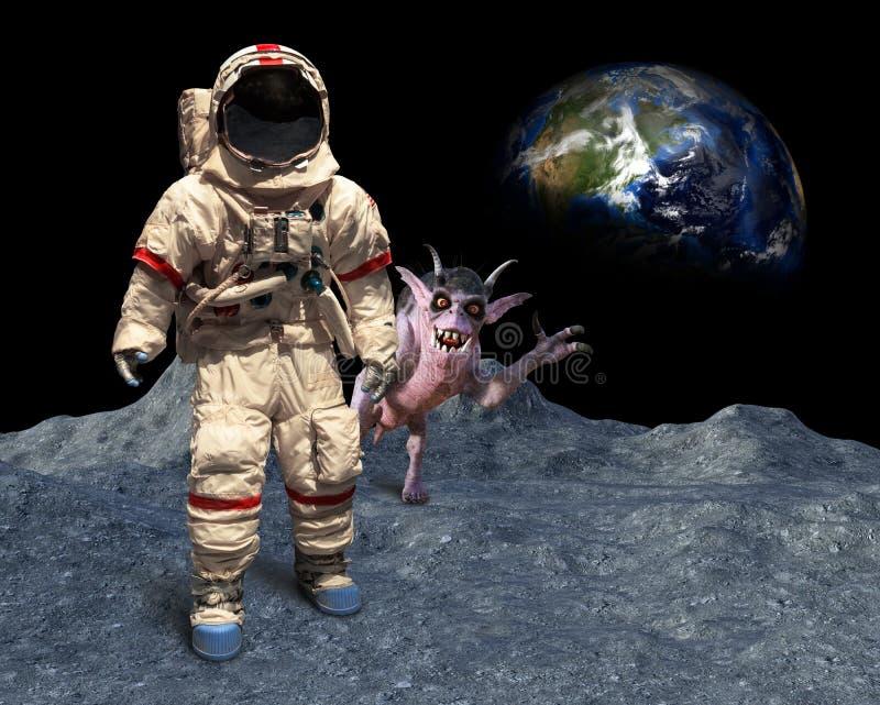 De grappige Astronaut, plaatst Vreemdeling, Photobomb, Maan het Landen uit elkaar stock fotografie