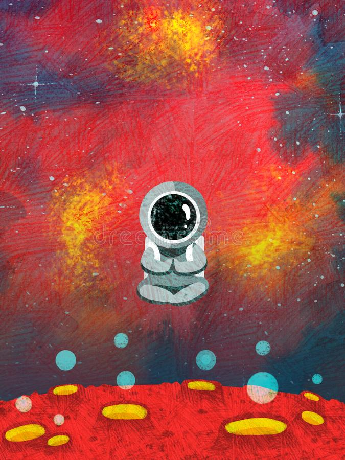 De grappige astronaut zit op de textuurilustration van de maanrooster stock illustratie