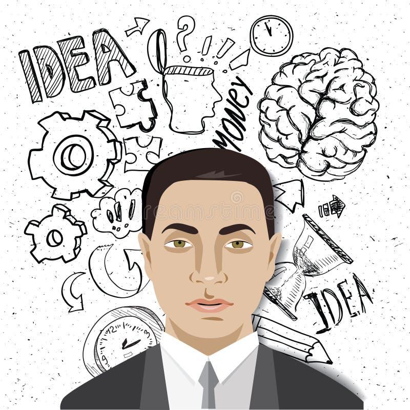 De grappige beeldverhaal Aziatische zakenman in divers stelt voor gebruik in reclame, presentaties, royalty-vrije illustratie