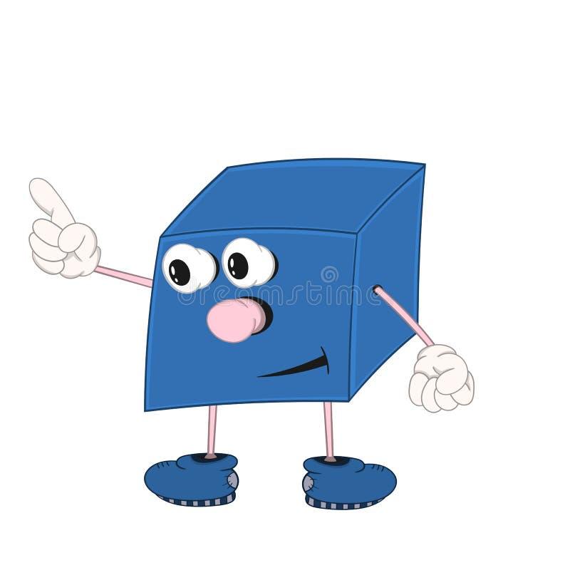 De grappige beeldverhaal blauwe kubus met ogen, armen en benen toont één vinger vector illustratie