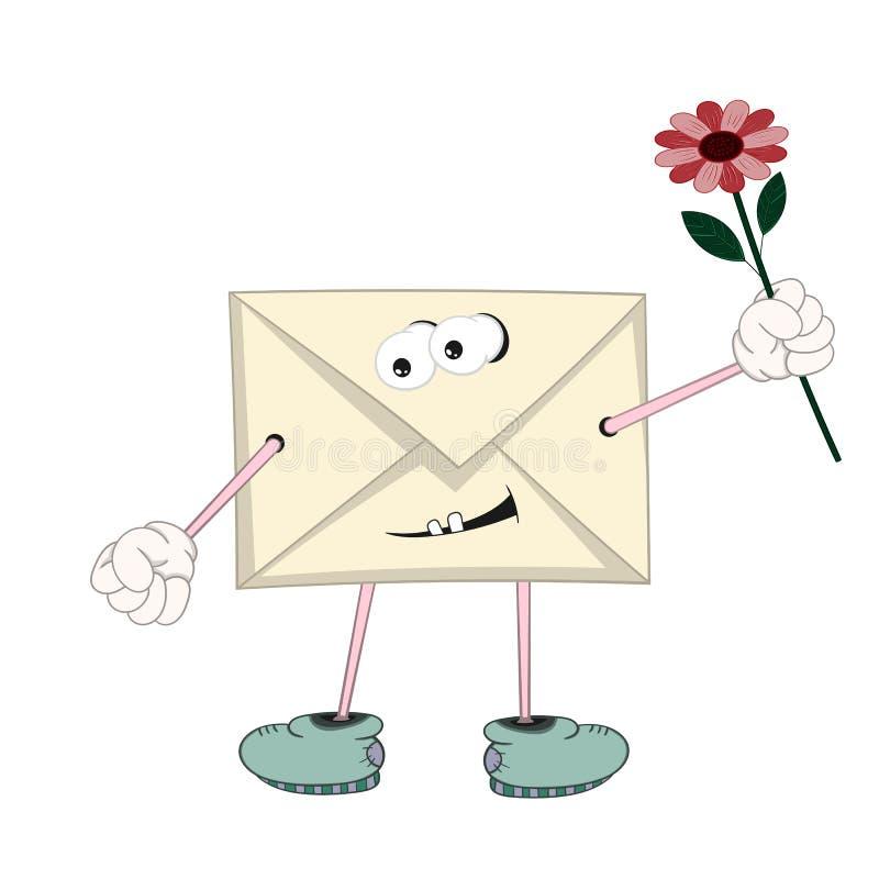 De grappige beeldverhaal gele brief met ogen, armen, benen en de mond die een rood de de houden bloeien in zijn hand en het gliml stock illustratie