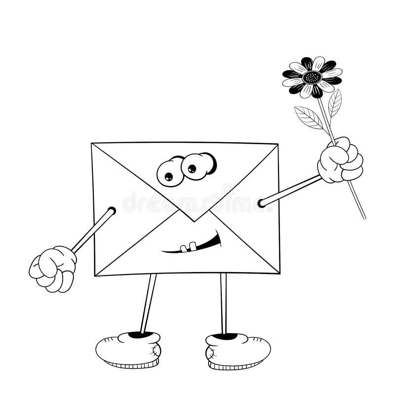 De grappige beeldverhaalbrief met ogen, armen, benen en mond houdt een gele bloem in zijn hand en glimlacht Zwart-witte kleuring stock illustratie