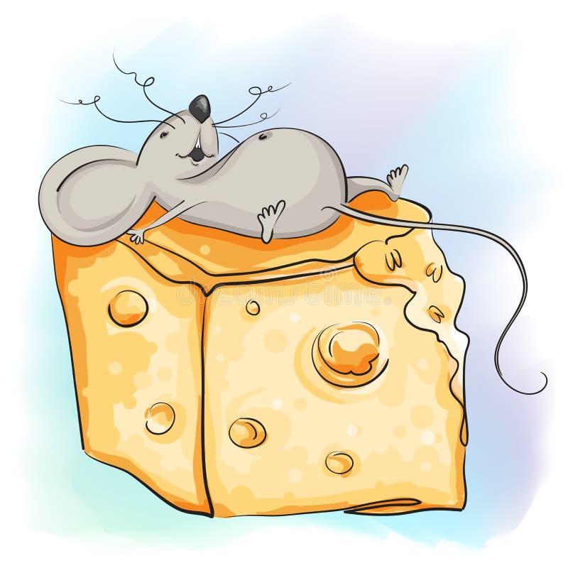 De grappige beeldverhaalmuis ligt met de kaas stock fotografie