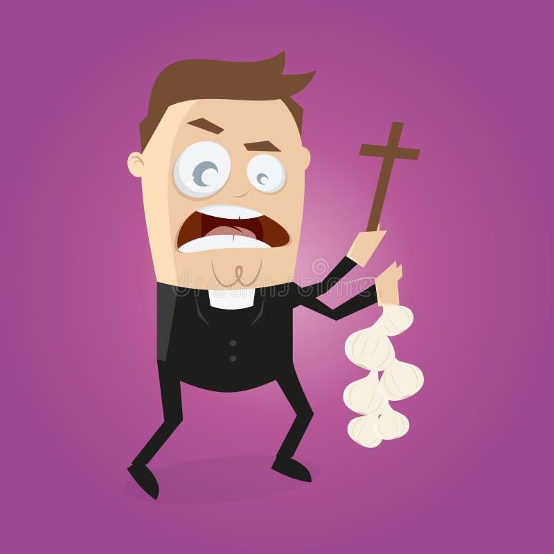 De grappige beeldverhaalpriester doet exorcisme vector illustratie