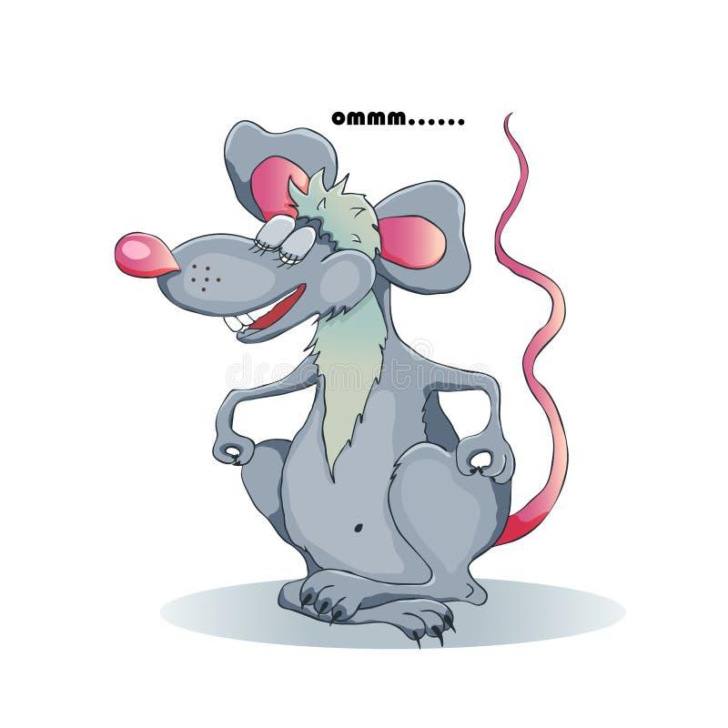 De grappige beeldverhaalrat mediteert in de lotusbloempositie Rat - een symbool van het nieuwe jaar van 2020 op de Chinese kalend stock illustratie