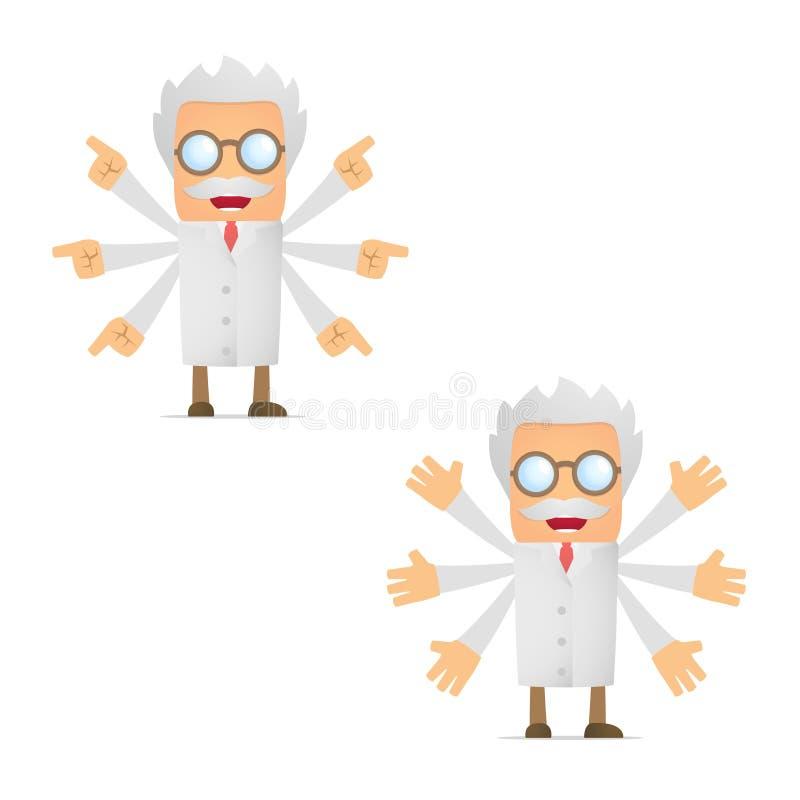 De grappige beeldverhaalwetenschapper maakt een keus vector illustratie