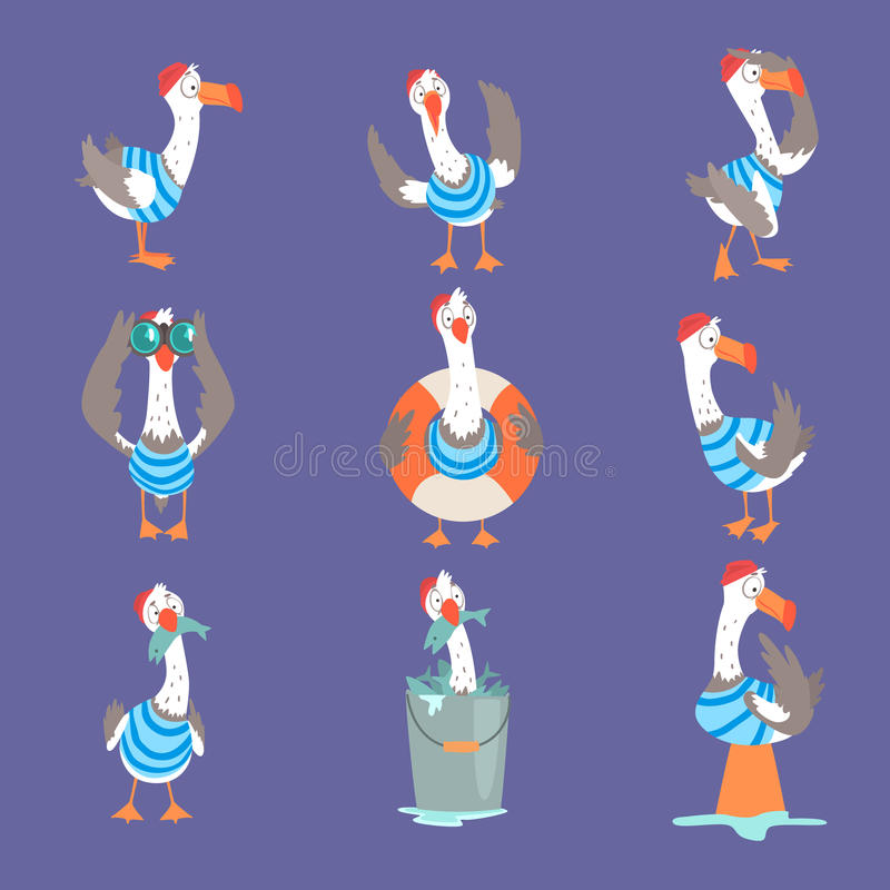 De grappige beeldverhaalzeemeeuw verschillende acties tonen en de emoties die plaatsen, leuke grappige vogelkarakters stock illustratie