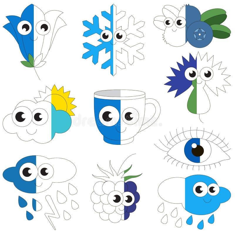 De grappige Blauwe Kleur heeft bezwaar, het grote jong geitjespel dat door voorbeeld half moet worden gekleurd vector illustratie