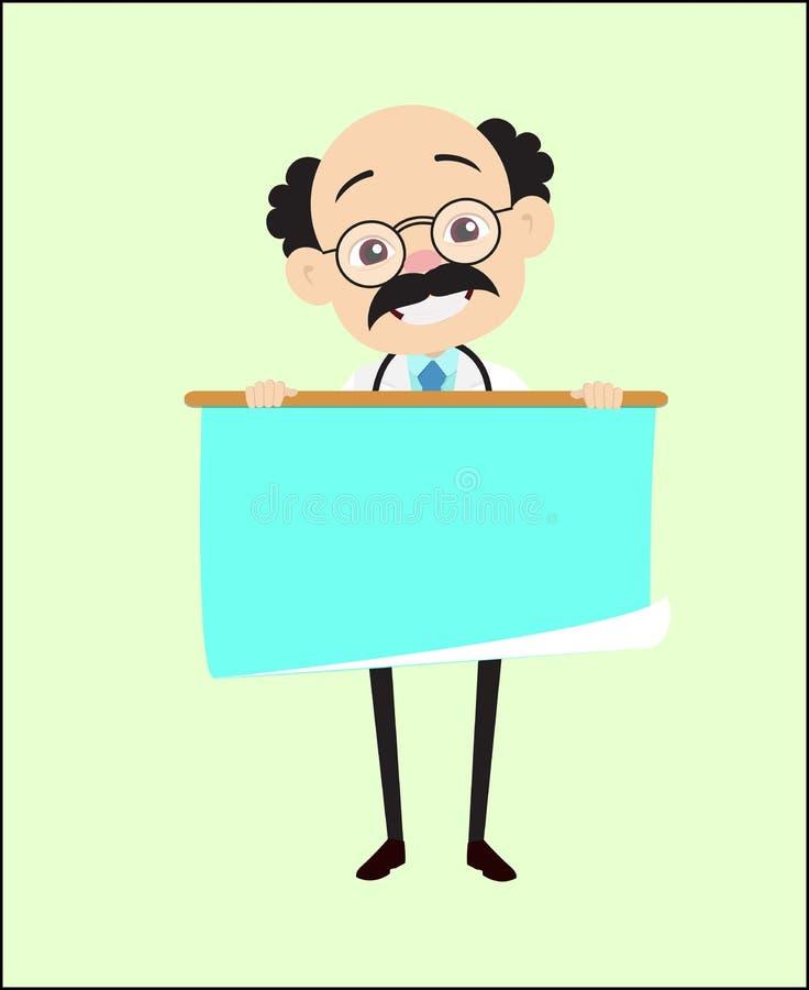 De grappige Blije Vector van Artsenpresenting scroll banner stock illustratie