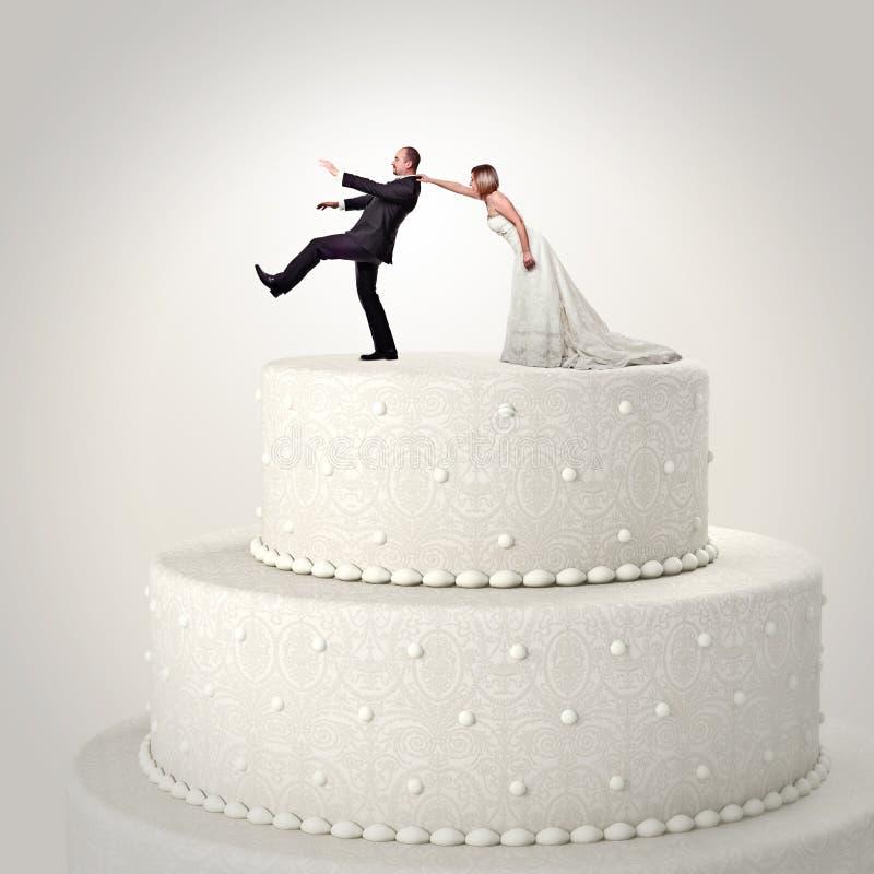 De grappige cake van het huwelijk stock afbeelding