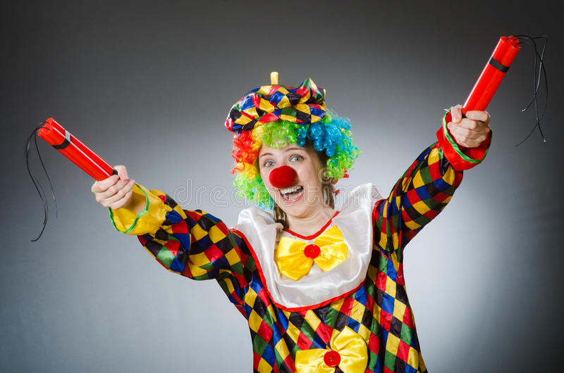 De grappige clown in komisch concept royalty-vrije stock foto