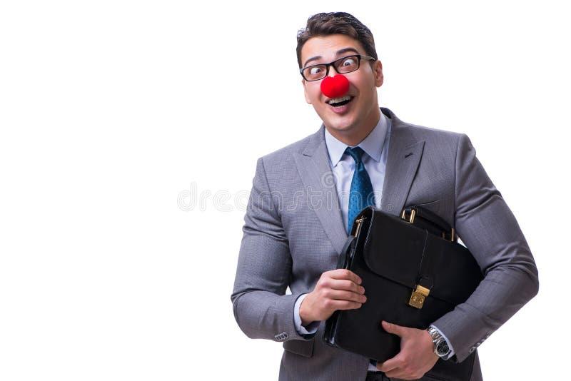 De grappige clown met aktentas op wit royalty-vrije stock foto's