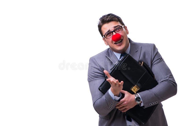 De grappige clown met aktentas op wit royalty-vrije stock fotografie