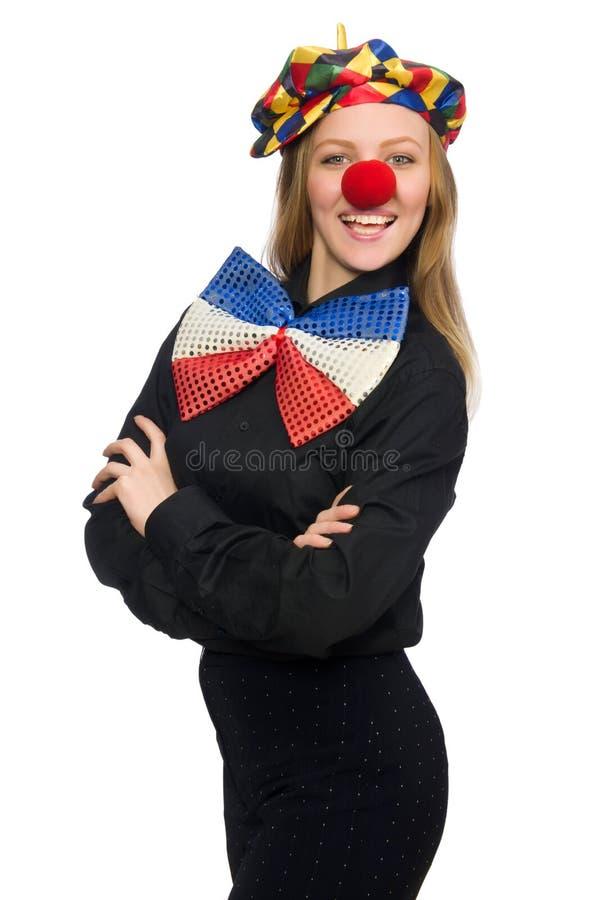 De grappige clown op wit royalty-vrije stock afbeeldingen