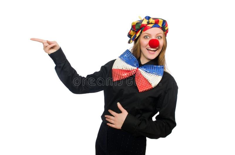 De grappige clown op wit royalty-vrije stock foto
