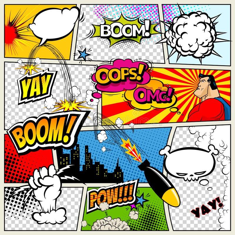 De grappige die boekpagina door lijnen met toespraak wordt verdeeld borrelt, raket, superhero en geluideneffect Retro model als a vector illustratie
