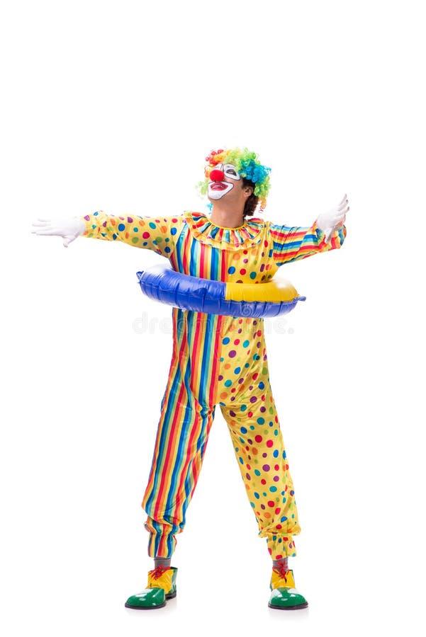 De grappige die clown op witte achtergrond wordt geïsoleerd royalty-vrije stock afbeelding