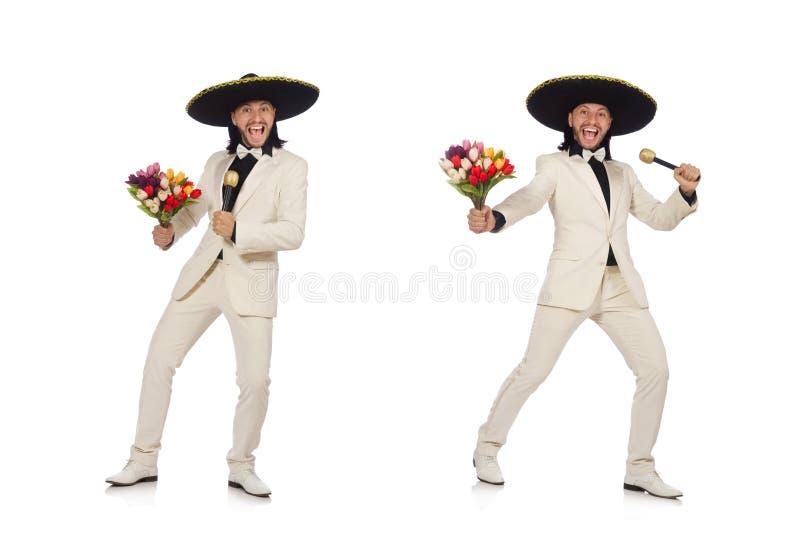 De grappige die Mexicaan in de bloemen van de kostuumholding op wit wordt geïsoleerd stock afbeelding