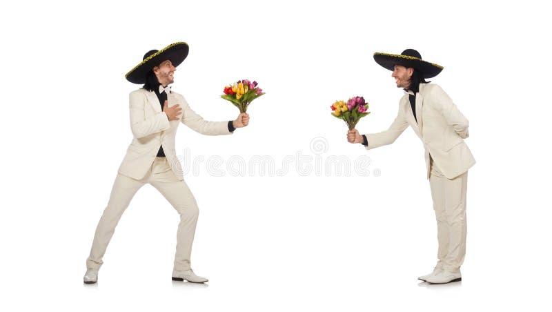 De grappige die Mexicaan in de bloemen van de kostuumholding op wit wordt geïsoleerd royalty-vrije stock foto's