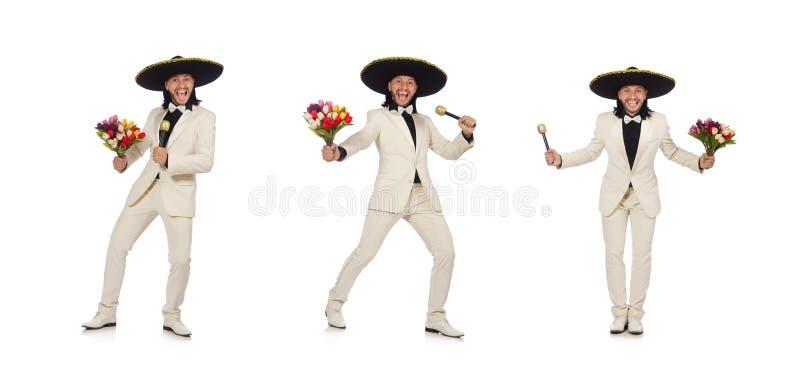 De grappige die Mexicaan in de bloemen van de kostuumholding op wit wordt ge?soleerd royalty-vrije stock afbeelding