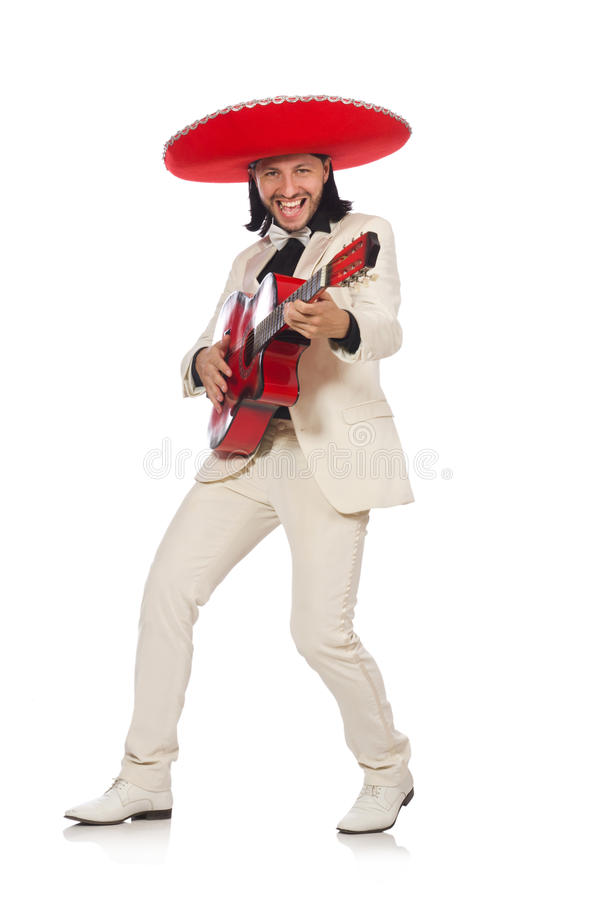 De grappige die Mexicaan in de gitaar van de kostuumholding op wit wordt geïsoleerd stock foto