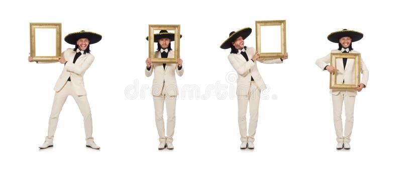 De grappige die Mexicaan in de fotokader van de kostuumholding op wit wordt geïsoleerd stock afbeelding