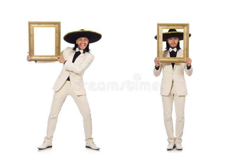 De grappige die Mexicaan in de fotokader van de kostuumholding op wit wordt ge?soleerd royalty-vrije stock fotografie
