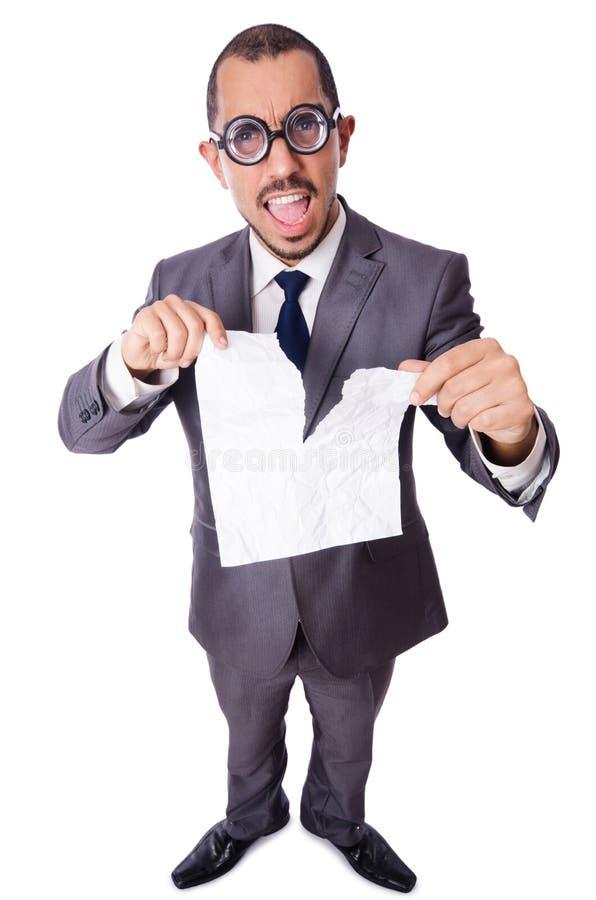 De grappige die zakenman op het wit wordt geïsoleerd stock fotografie