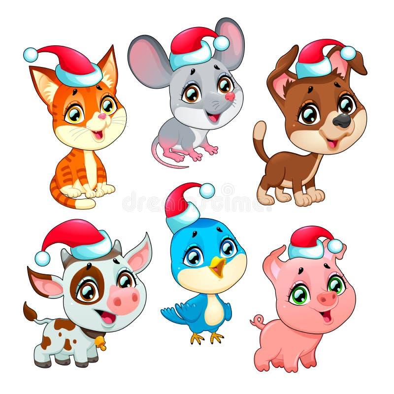 De grappige dieren van het Kerstmislandbouwbedrijf stock illustratie