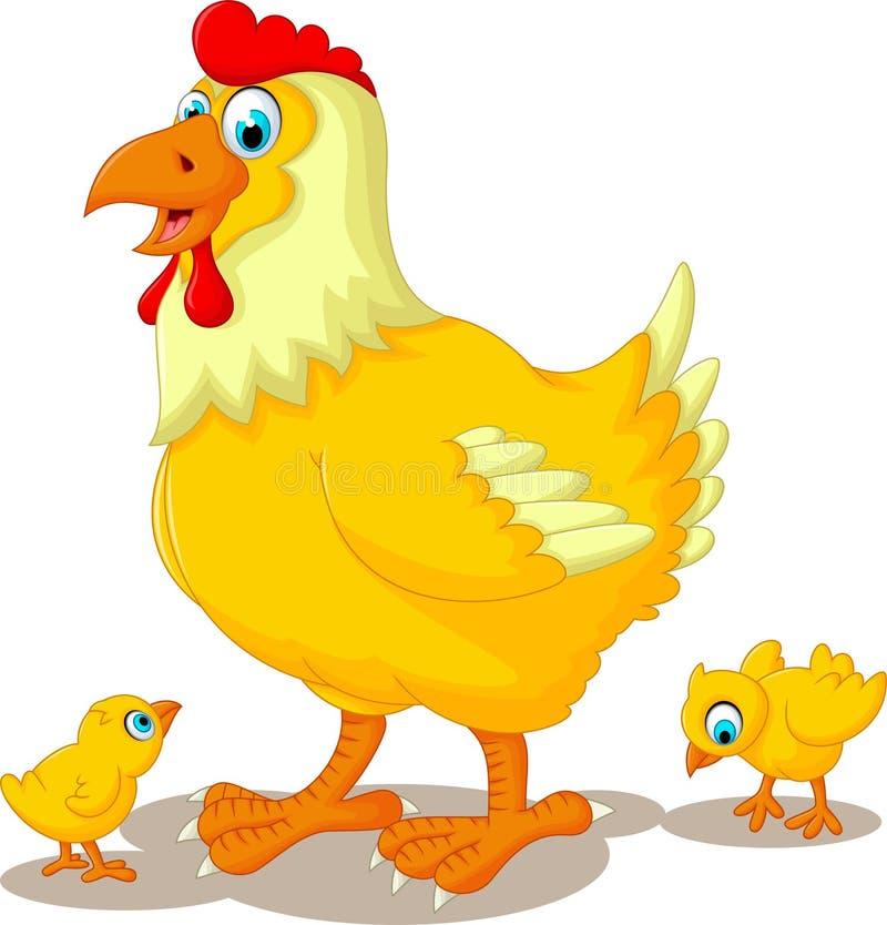 De grappige familie van het kippenbeeldverhaal vector illustratie