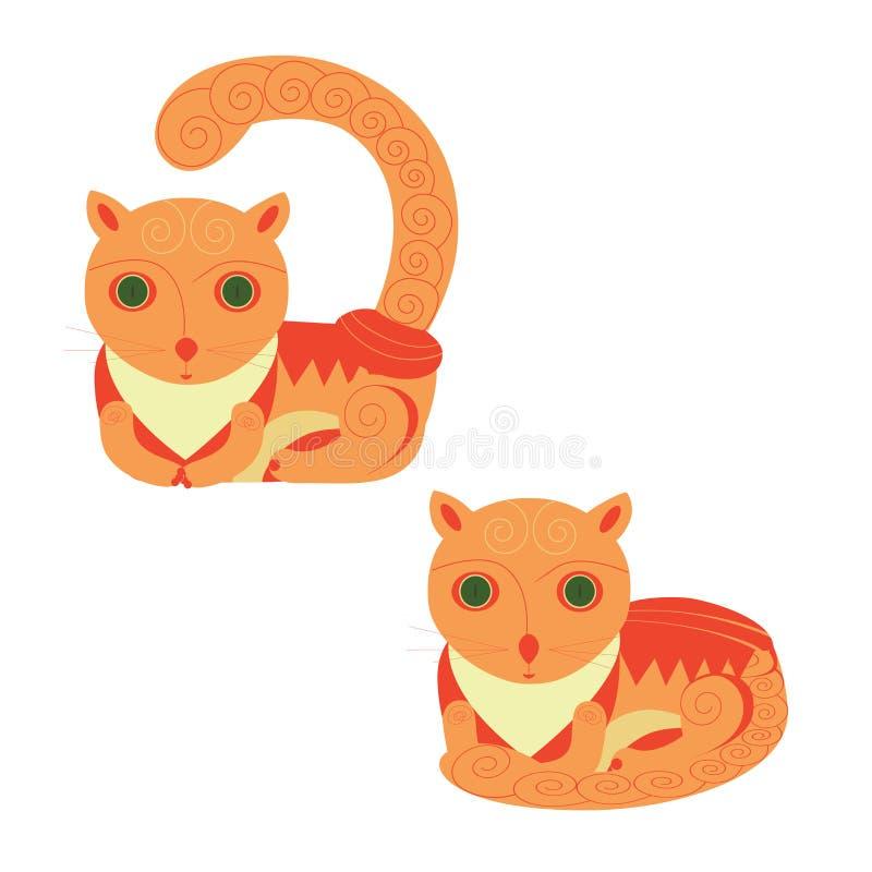 De grappige Foxy Vectorreeks van Kattenpictogrammen Op witte achtergrond stock illustratie