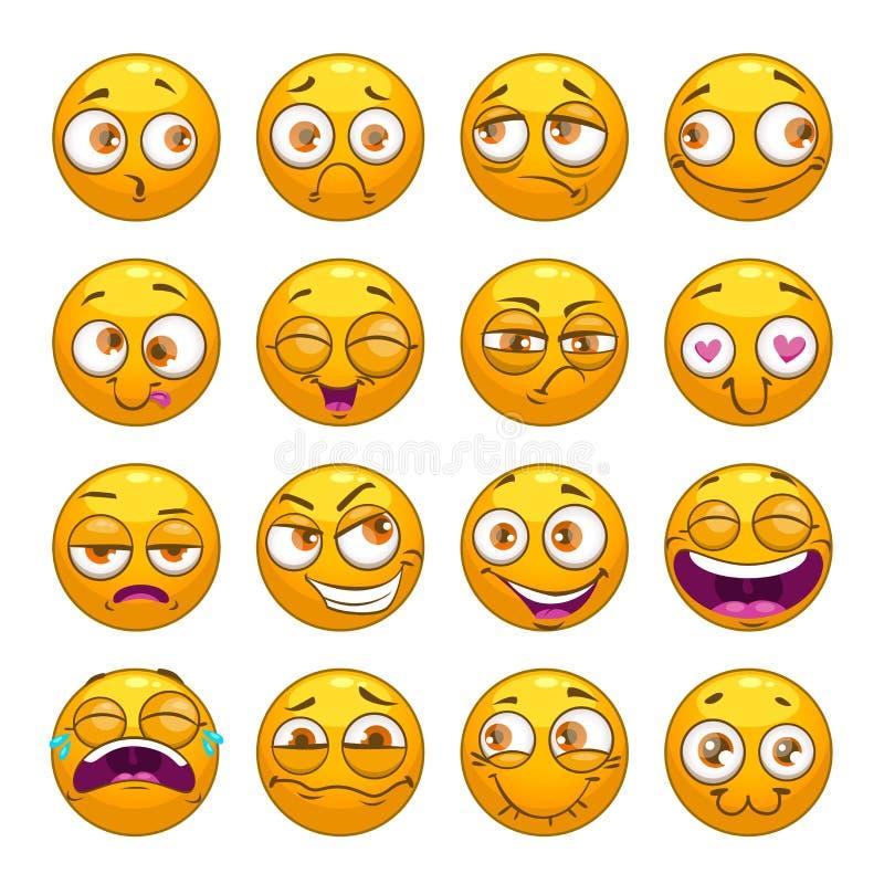 De grappige grappige geplaatste gezichten van beeldverhaal gele smiley stock illustratie