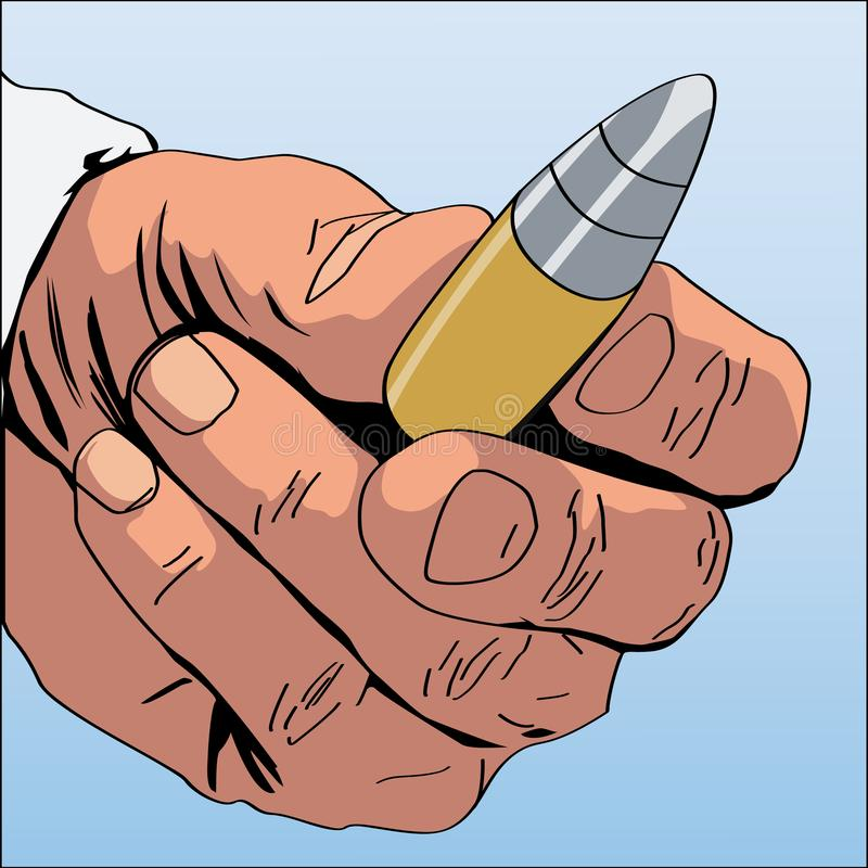 De grappige hand die van de boekkunst een kogel houden stock illustratie