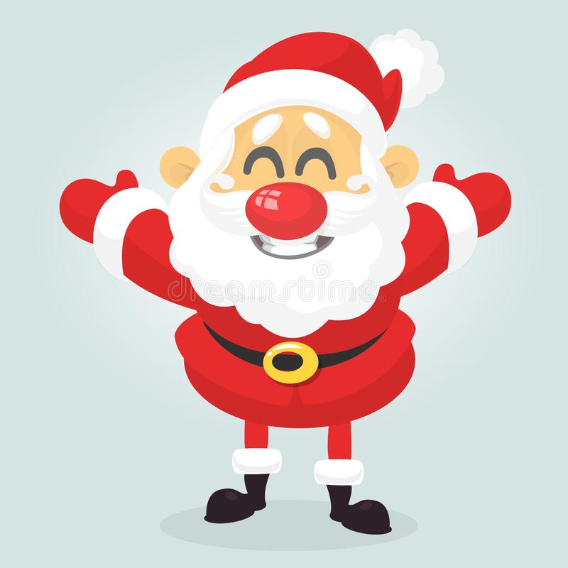 De grappige het karakter golvende handen van de beeldverhaalkerstman isoleerden witte achtergrond Fractal Kerstboom Ontwerp voor  vector illustratie