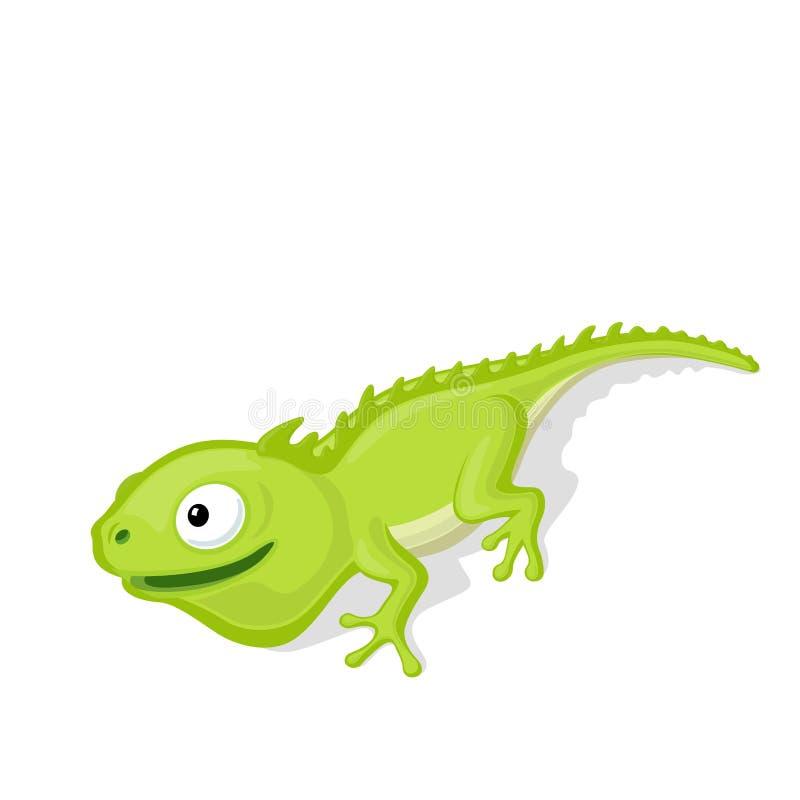 De grappige illustratie van het beeldverhaalkameleon vector illustratie