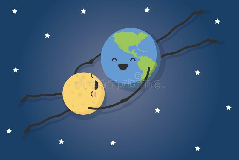 De grappige illustratie van de maan draait rond de aarde vector illustratie