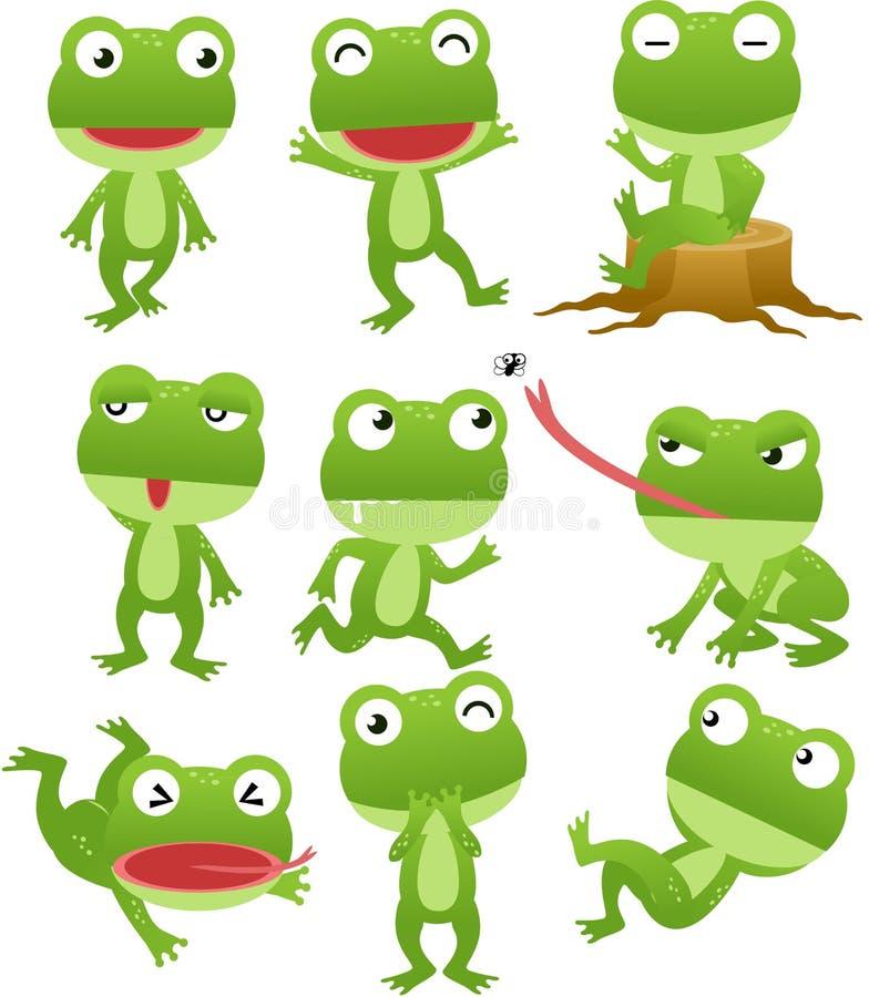 De grappige inzameling van het kikkerbeeldverhaal royalty-vrije illustratie