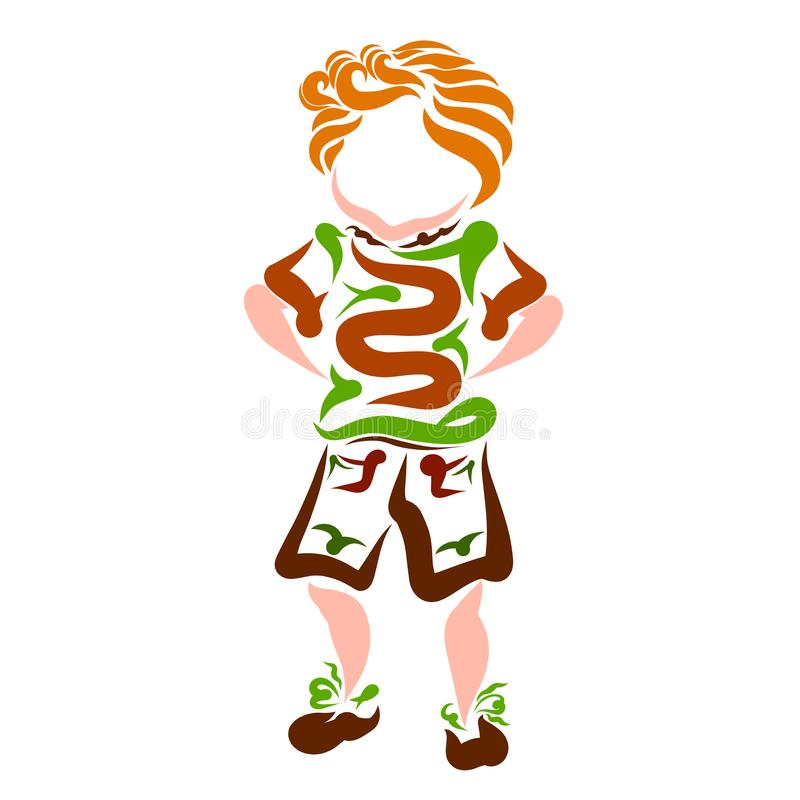 De grappige jongen verbergt zijn handen achter zijn achter, creatief kleurrijk klopje vector illustratie