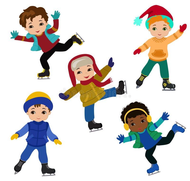 De grappige jongens in de winter kleedt ijs schaatsen geïsoleerd op witte achtergrond stock illustratie