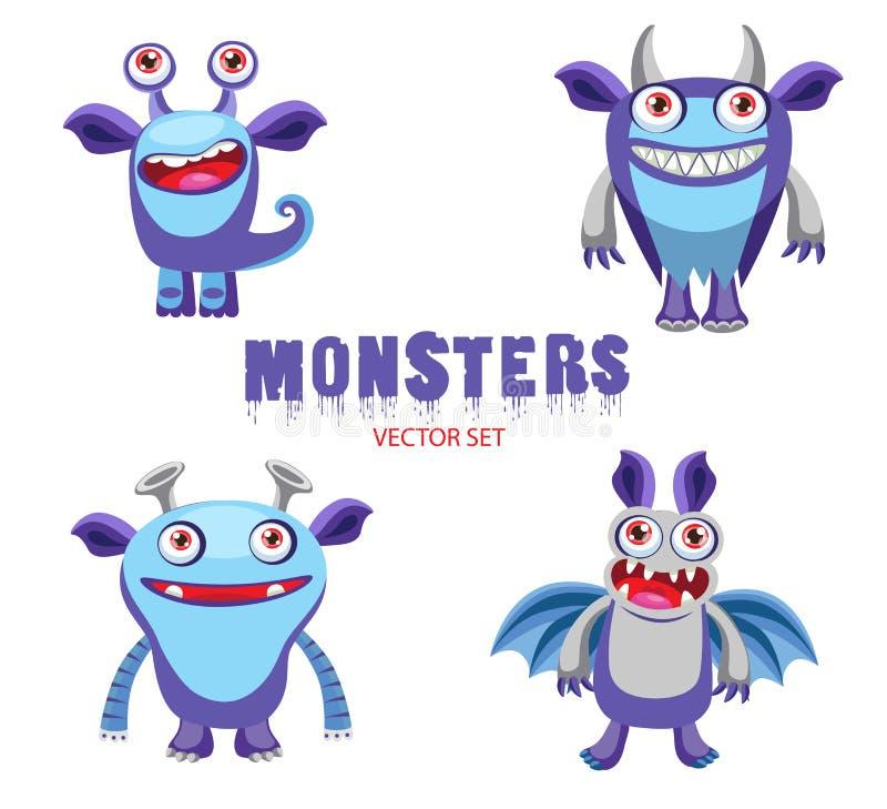 De grappige Karakters van Beeldverhaalmonsters Halloween-Monsters voor Jonge geitjes Leuke Monstertekeningen vector illustratie