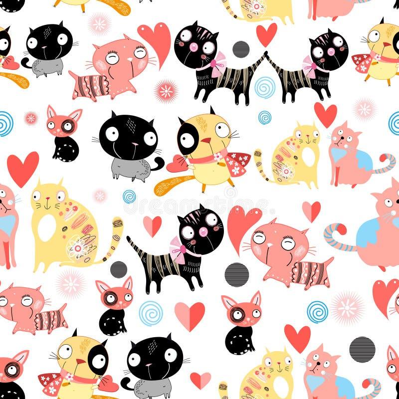 De grappige katten van patroonminnaars vector illustratie