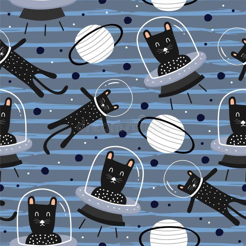 De grappige kattenvreemdeling op de ruimte naadloze Skandinavische artistieke die hand van de patroon decoratieve tekening voor b royalty-vrije illustratie