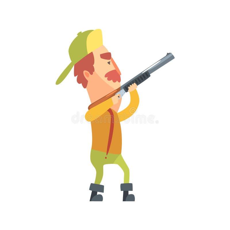De grappige Kinderachtige Hunter Character With Moustache Aiming-Vectorillustratie van het Kanonbeeldverhaal royalty-vrije illustratie