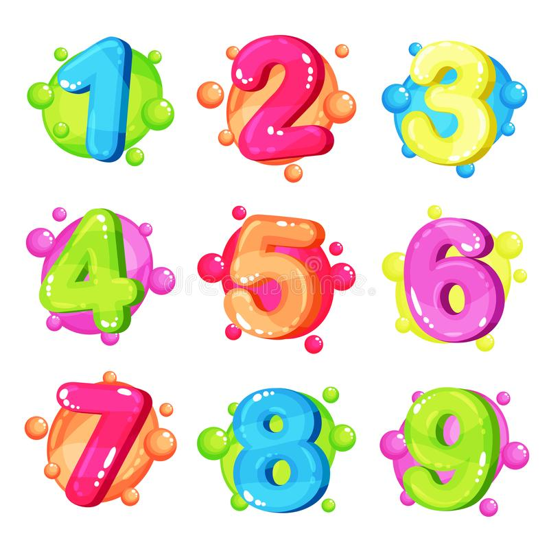 De grappige kleurrijke aantallen plaatsen, de vectorillustratie van de jonge geitjesdoopvont op een witte achtergrond vector illustratie