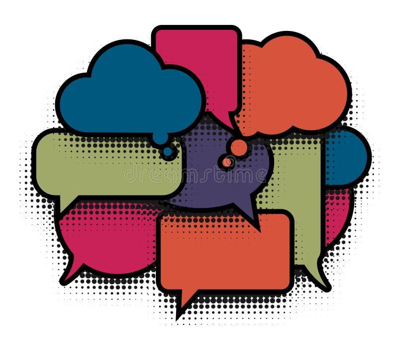 De grappige kleurrijke wolk van het bellenpop-art De inzameling van de ballonspictogrammen van de strippaginatoespraak op witte a stock illustratie