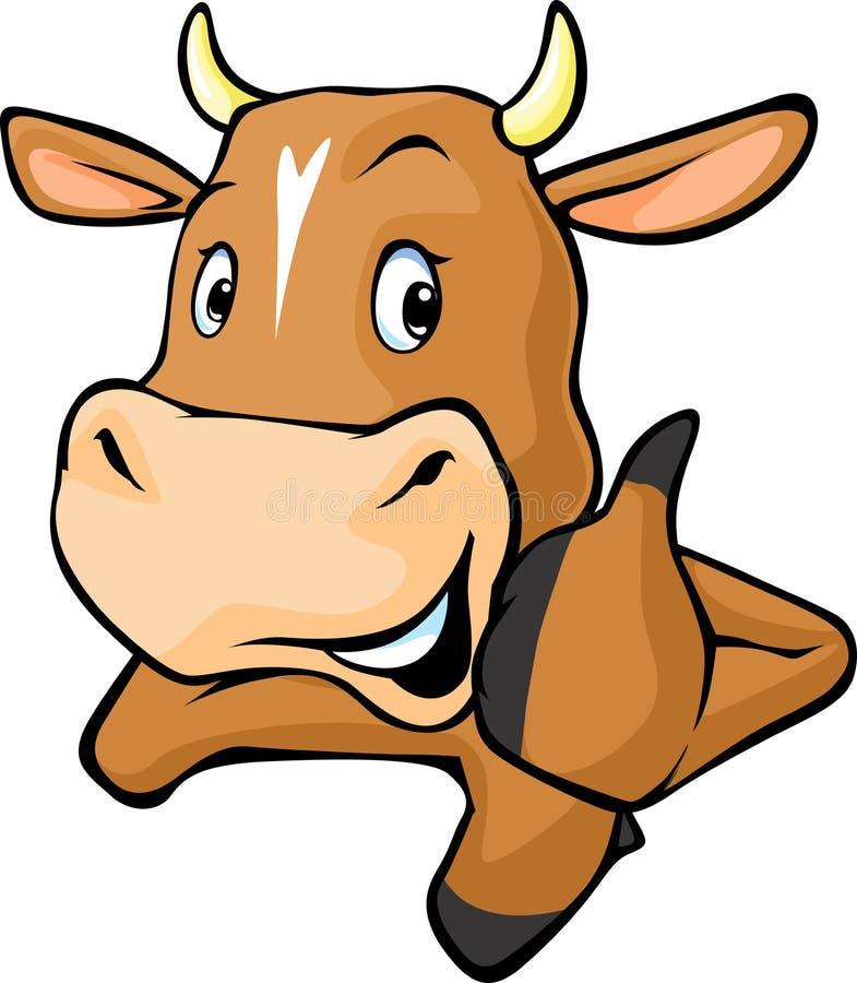De grappige koe gluurt uit van achter een witte oppervlakte - vectorbeeldverhaal royalty-vrije illustratie